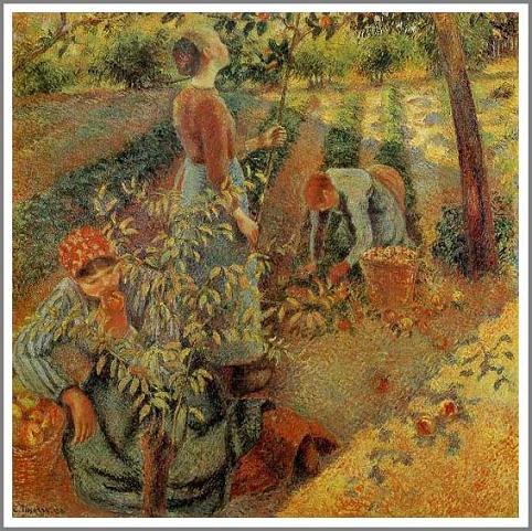 絵画(油絵複製画)制作 カミーユ・ピサロ「リンゴ狩り」