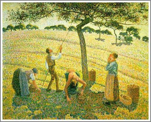 絵画(油絵複製画)制作 カミーユ・ピサロ「エラニーでのリンゴ狩り」