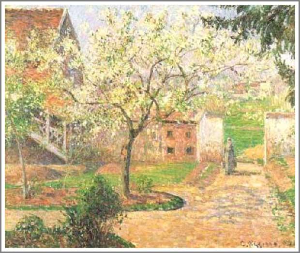 絵画(油絵複製画)制作 カミーユ・ピサロ「エラニーのすももの木」
