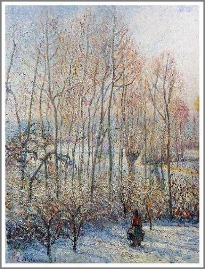 絵画(油絵複製画)制作 カミーユ・ピサロ「エラニーの冬~朝日の効果~」