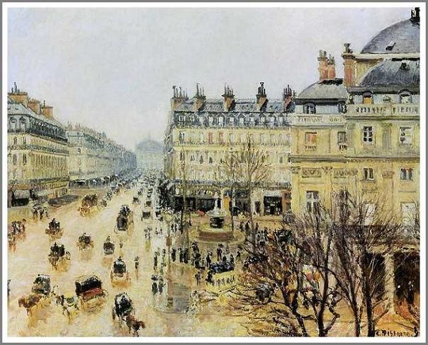 絵画(油絵複製画)制作 カミーユ・ピサロ「テアトル・フランセ広場~雨の効果~」