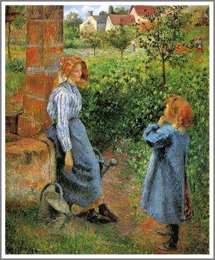 絵画(油絵複製画)制作 カミーユ・ピサロ「井戸端の女と子供」