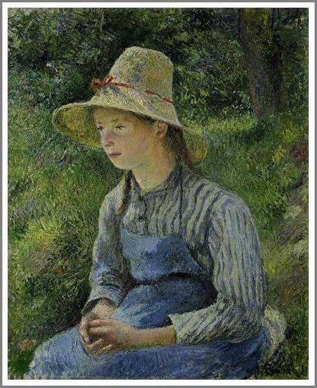 絵画(油絵複製画)制作 カミーユ・ピサロ「帽子を被った農家の娘」