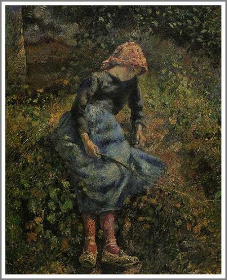 絵画(油絵複製画)制作 カミーユ・ピサロ「小枝を持つ少女」