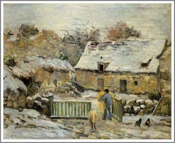 絵画(油絵複製画)制作 カミーユ・ピサロ「モンフーコー~雪の効果~」