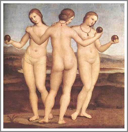絵画(油絵複製画)制作 ラファエロ・サンティ「三美神」