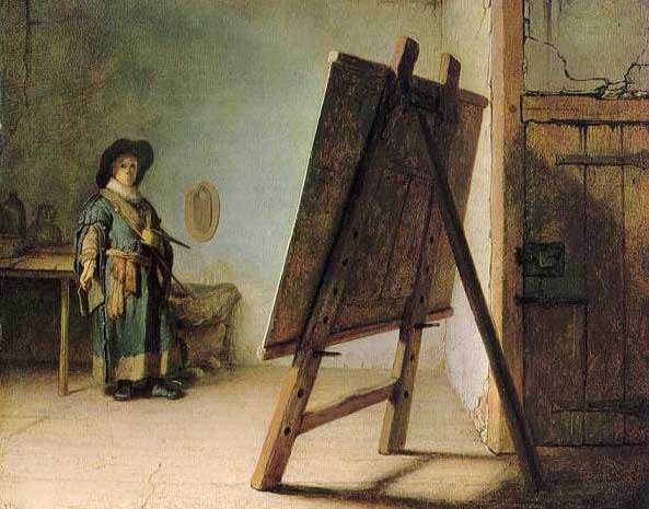 絵画(油絵複製画)制作 レンブラント「アトリエの画家」