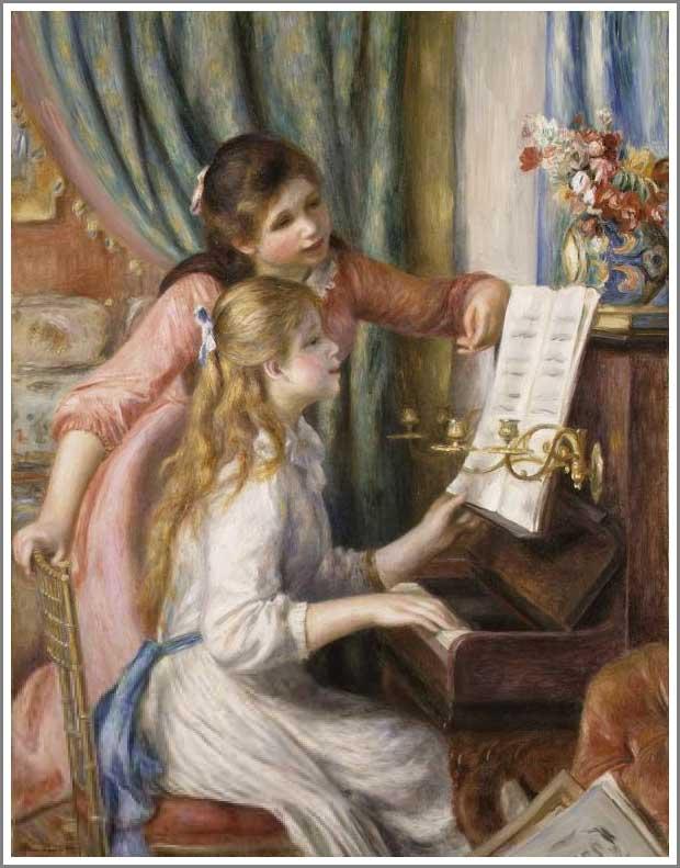 絵画(油絵複製画)制作 オーギュスト・ルノアール「ピアノに寄る娘たち」