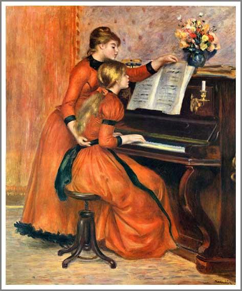 絵画(油絵複製画)制作 オーギュスト・ルノアール「ピアノを弾く二人の少女」
