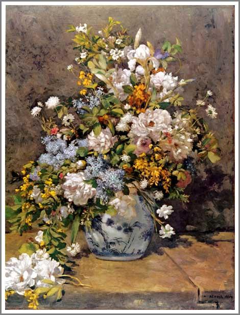 絵画(油絵複製画)制作 ルノアール(ルノワール)「春のブーケ(春の花)」