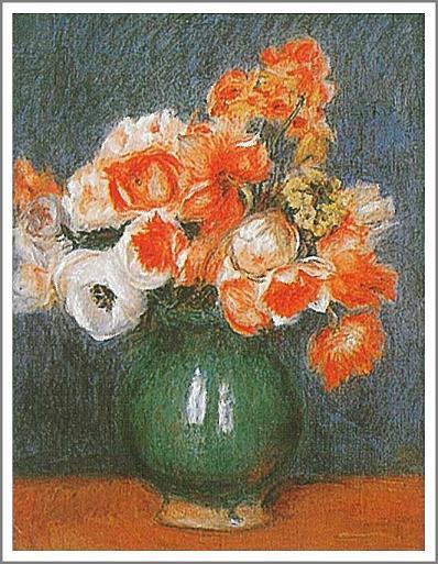 絵画(油絵複製画)制作 ルノアール(ルノワール)「青い花瓶のアネモネ」