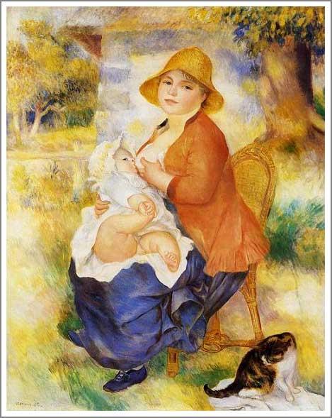 絵画(油絵複製画)制作 ルノアール(ルノワール)「授乳する母親」