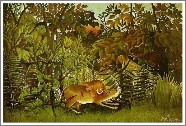 絵画(油絵複製画)制作 アンリ・ルソー「飢えたライオン」