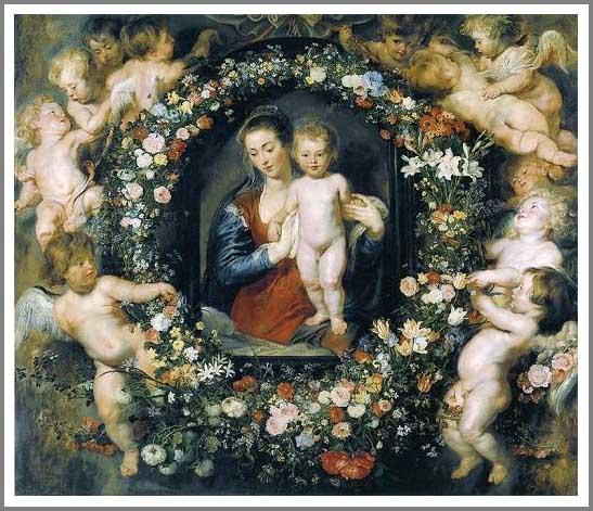 絵画(油絵複製画)制作 ピーテル・パウル・ルーベンス「花輪の聖母」