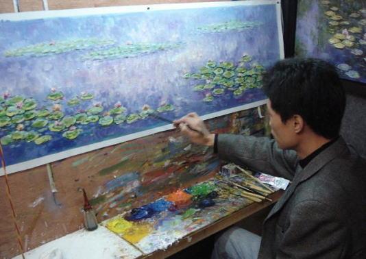 油絵作品の制作現場です