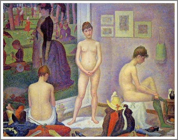 絵画(油絵複製画)制作 ジョルジュ・スーラ「ポーズをとる女たち」