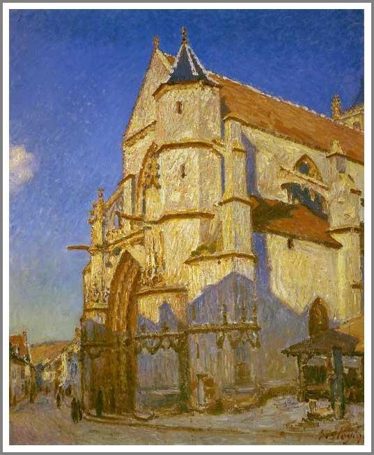 絵画(油絵複製画)制作 アルフレッド・シスレー「朝の日差しを浴びるモレの教会」