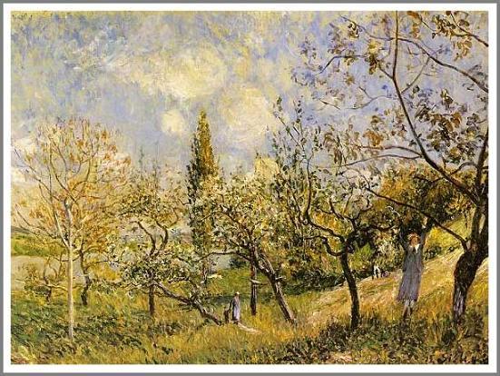 絵画(油絵複製画)制作 アルフレッド・シスレー「果樹園」