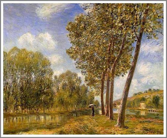 絵画(油絵複製画)制作 アルフレッド・シスレー「春の太陽ーロワン河」