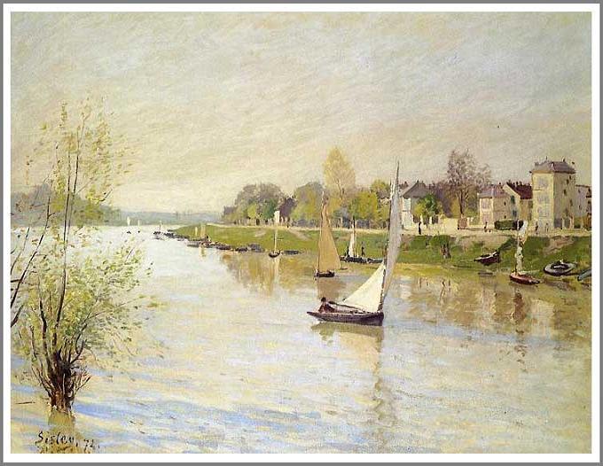 絵画(油絵複製画)制作 アルフレッド・シスレー「アルジャントゥイユのセーヌ河」