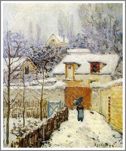 絵画(油絵複製画)制作 アルフレッド・シスレー「ルーヴシエンヌの庭 〜雪景色〜」