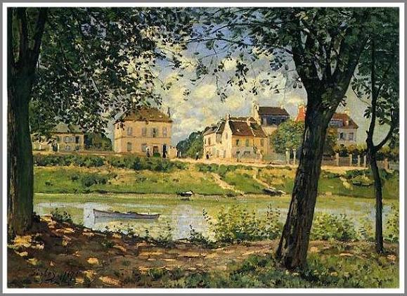 絵画(油絵複製画)制作 アルフレッド・シスレー「セーヌ河岸のヴァルヌーヴ・ラ・ガレンヌ」