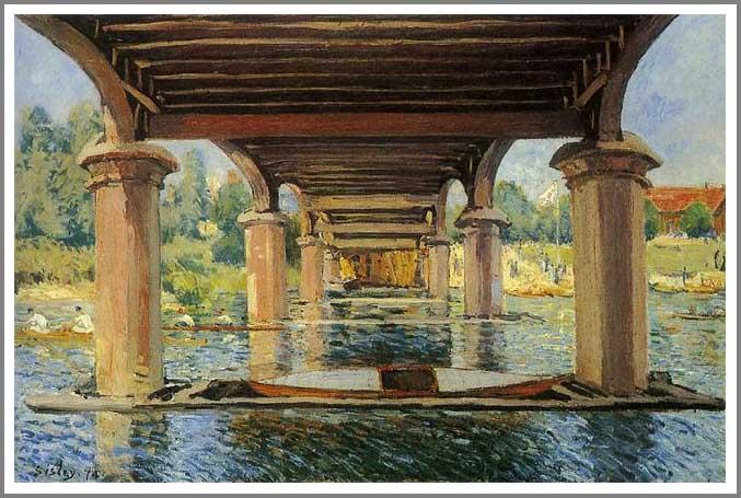 絵画(油絵複製画)制作 アルフレッド・シスレー「ハンプトンコートの橋の下で」