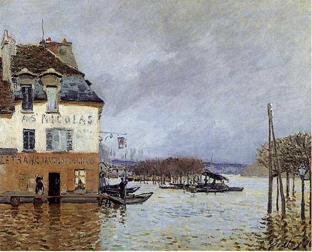 絵画(油絵複製画)制作 アルフレッド・シスレー「ポール・マルリの洪水の波止場」