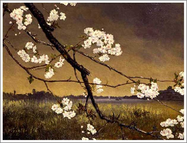 絵画(油絵複製画)制作 高橋由一「墨水桜花輝耀の景」