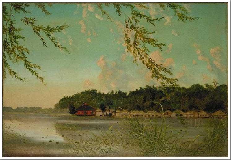 絵画(油絵複製画)制作 高橋由一「不忍池」
