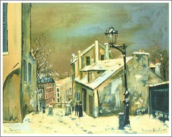 絵画(油絵複製画)制作 ユトリロ「モンマルトルのミミパンソンの家」
