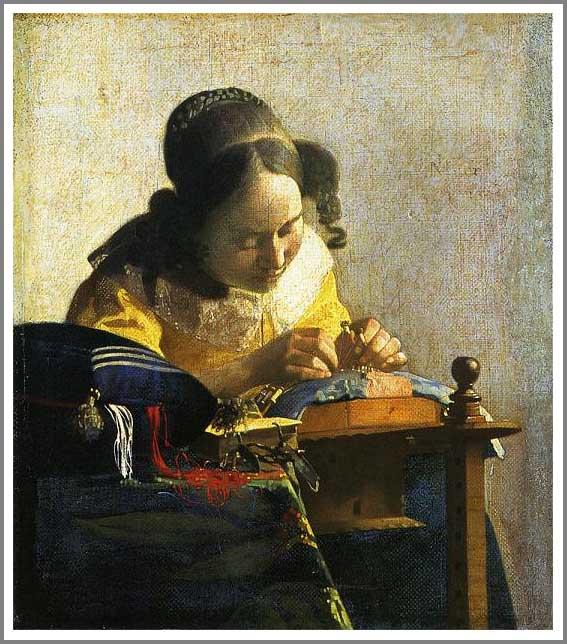 絵画(油絵複製画)制作 ヨハネス・フェルメール「レースを編む女」