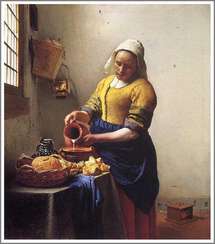 絵画(油絵複製画)制作 ヨハネス・フェルメール「牛乳を注ぐ女」