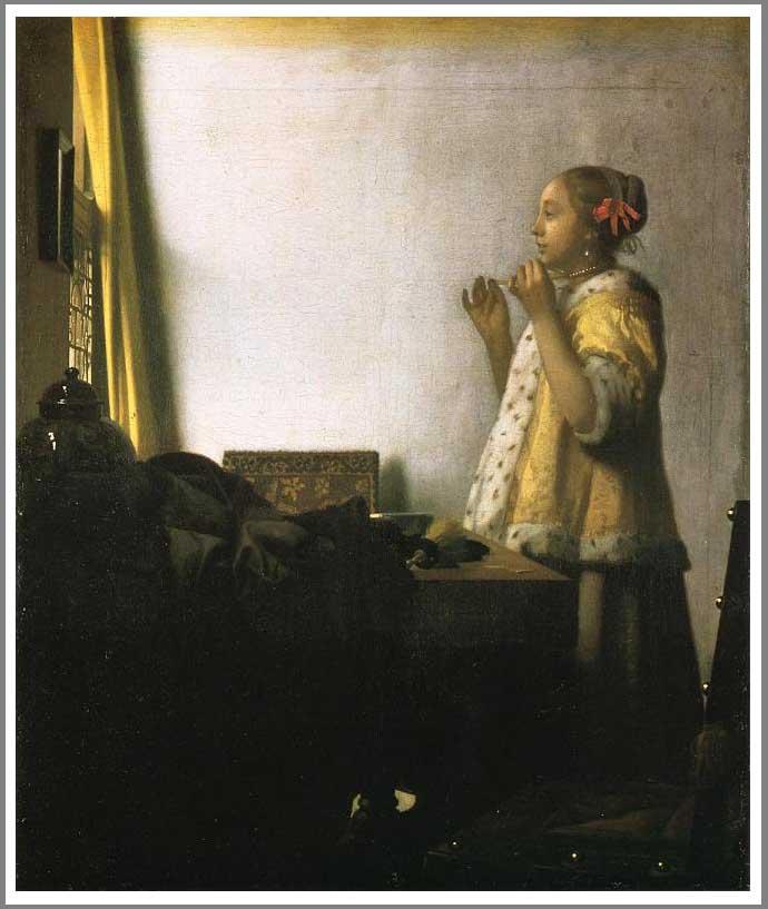 絵画(油絵複製画)制作 ヨハネス・フェルメール「真珠の首飾りの女」