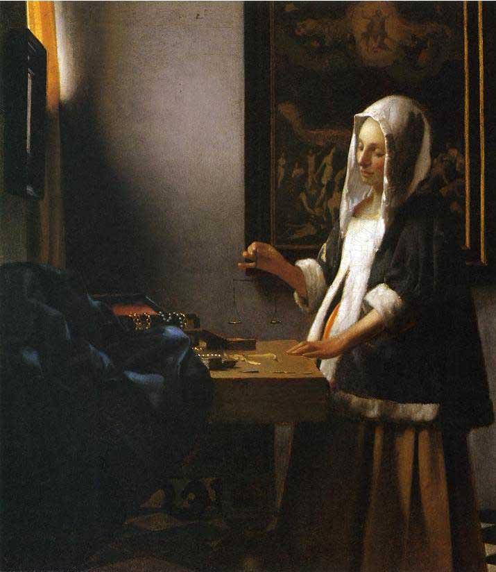 絵画(油絵複製画)制作 ヨハネス・フェルメール「天秤を持つ女(真珠を量る女)」