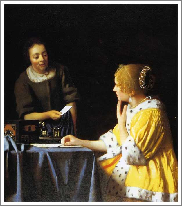 絵画(油絵複製画)制作 ヨハネス・フェルメール「手紙を書く女と召使」