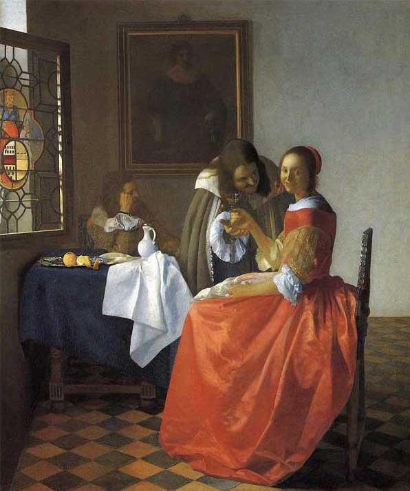 絵画(油絵複製画)制作 ヨハネス・フェルメール「二人の紳士と女」