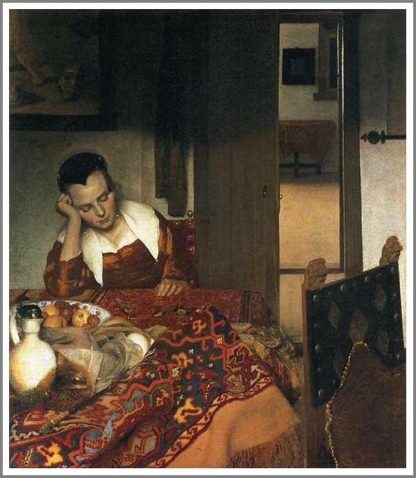 絵画(油絵複製画)制作 ヨハネス・フェルメール「眠る女」