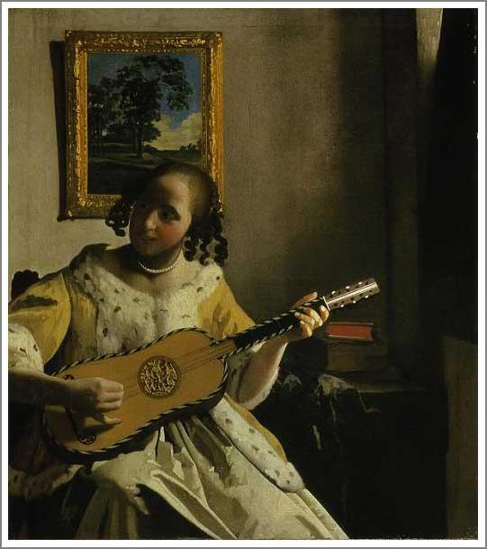 絵画(油絵複製画)制作 ヨハネス・フェルメール「ギターを弾く女」
