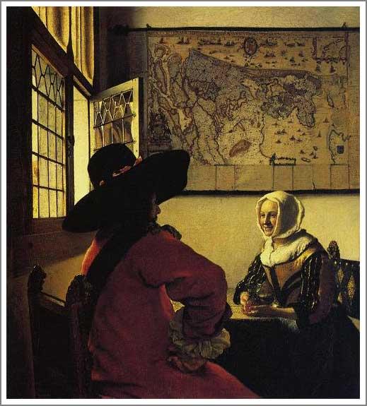 絵画(油絵複製画)制作 ヨハネス・フェルメール「兵士と笑う娘」