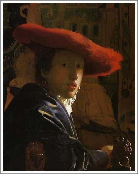 絵画(油絵複製画)制作 ヨハネス・フェルメール「赤い帽子の女」