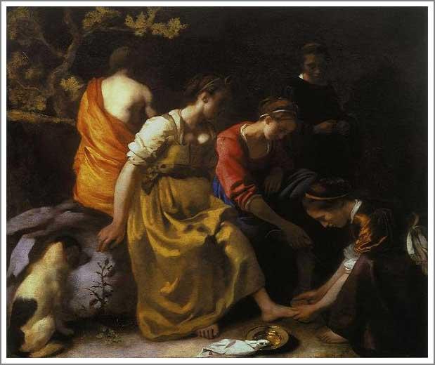 絵画(油絵複製画)制作 ヨハネス・フェルメール「ディアナとニンフたち」