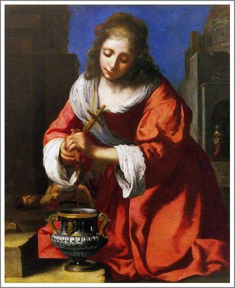 絵画(油絵複製画)制作 ヨハネス・フェルメール「聖プラクセディス」