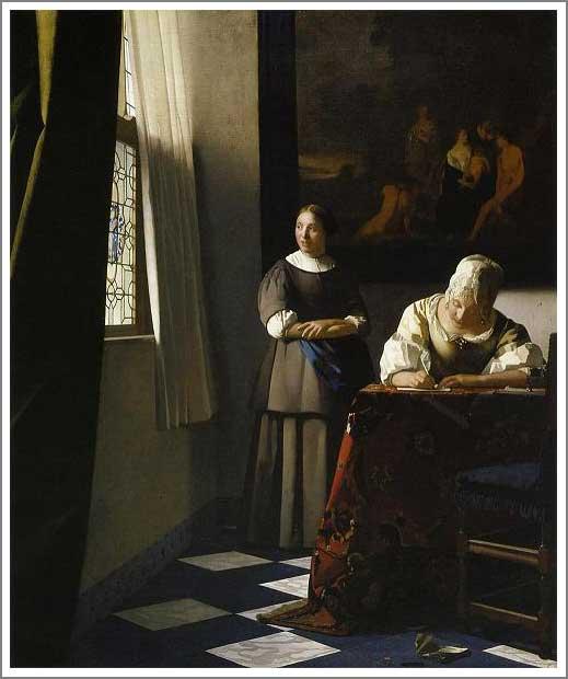 絵画(油絵複製画)制作 ヨハネス・フェルメール「婦人と召使」
