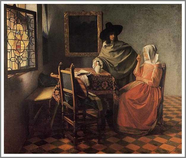 絵画(油絵複製画)制作 ヨハネス・フェルメール「紳士とワインを飲む女」