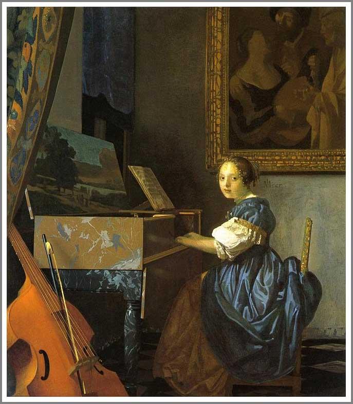 絵画(油絵複製画)制作 ヨハネス・フェルメール「ヴァージナルの前に座る女性」