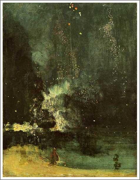 絵画(油絵複製画)制作 マクニール・ホイッスラー「黒と金のノクターン ~ 落下する花火~」