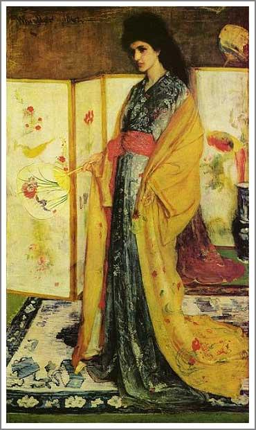 絵画(油絵複製画)制作 マクニール・ホイッスラー「陶磁の国の姫君」