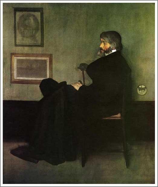 絵画(油絵複製画)制作 マクニール・ホイッスラー「灰色と黒のアレンジメント 第2番 トマス・カーライルの肖像」