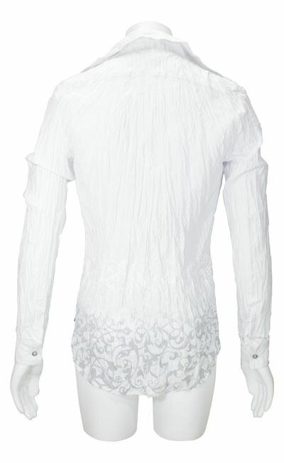L/Sしわ加工フローラルグラデホックシャツ